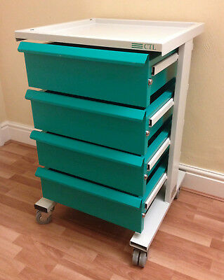Heavy Duty 4 Drawer Trolley for Medical Beauty Tools like Gratnells Bristol Maid