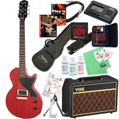 [New]Epiphone LIMITED RED Les Paul Jr. Electric Guitar & VOX amp 20 point set