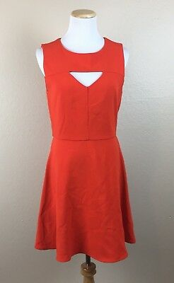 5b3f67f05c1 French Connection Feather Ruth Cut Out Fit and Flare Dress Orange Sz 8 Fall   168