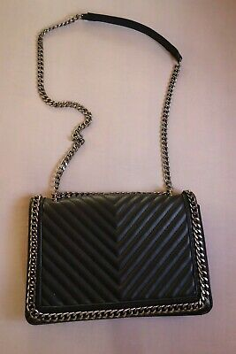 d1c545dfc73 Aldo Greenwald STYLE Black Chain Edge Quilted Small Faux Leather Cross Body  Bag
