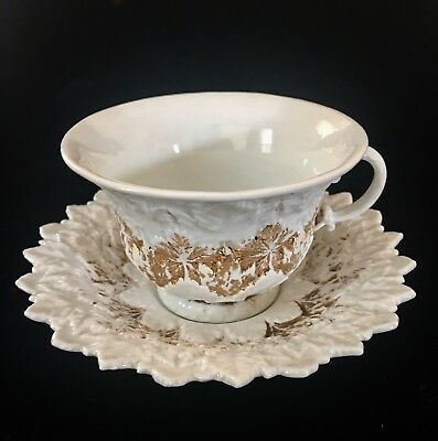Meissen First Quality Antique Leaf Pattern Full Size Cup & Saucer 1823-