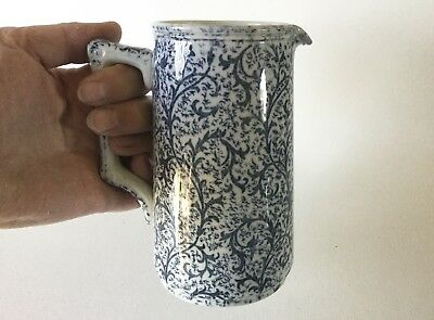 Antique F.W.&Co Winkle Syrup Milk PITCHER England Blue Vines Ca 1900