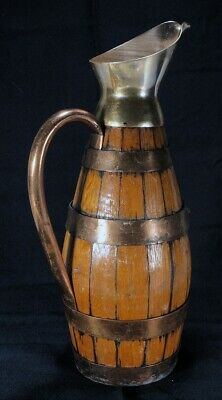 Primitive Wooden Copper Barrel Pitcher Wine Water Jug Carafe