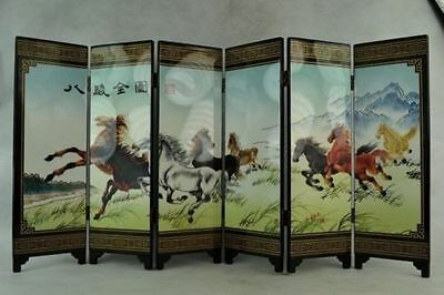 Collectibles Old Decorated Hand Lacquer Painting 8 Horse Run Noble Screen b02