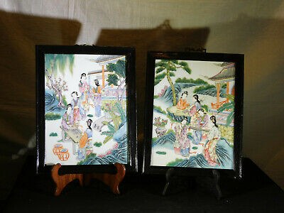 Pair-Set of 2-Chinese Late Qing Dy Famille Rose Wall Plaques Framed Tiles