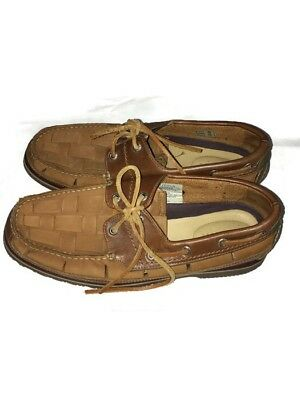 74e2f0e8e1f Nautica Leather Braided Loafers Boat Shoes Brown Mocassins Good Year Sole 9