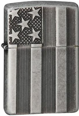 "Zippo 28974, ""Stars & Bars-Flag"" Antique Silver Plated Lighter, Armor"