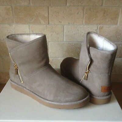 2fac7ee4ef9 UGG LUX KIP Clay Suede Shearling Zip Ankle Mini Boots Size Us 7 Womens