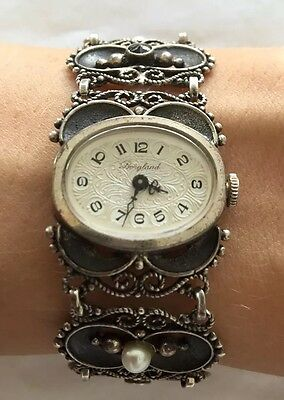Antique Art Deco German Ladies Watch Bergland Garnet Natural Pearls Silver 835