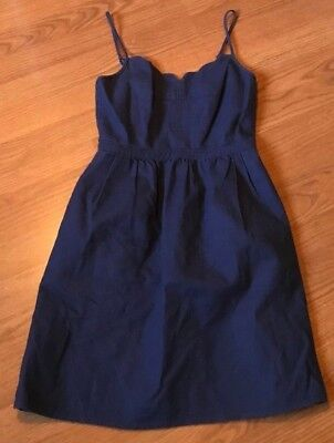 cebcaa01a5c J Crew Scalloped Cami Dress Fit Flare Adjustable Strap Textured Navy Blue  Size 0