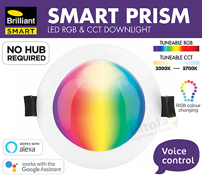 BRILLIANT SMART PRISM WIFI RGB COLOUR CHANGING 10w LED DOWNLIGHT - GOOGLE ALEXA