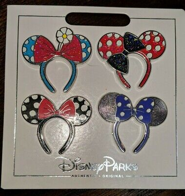 Disney Parks Authentic Minnie Mouse Ears 4 Pin Themed Set on Card