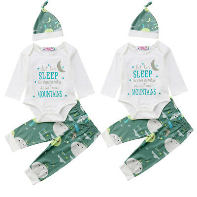 Cute Newborn Baby Girls Boy Romper Tops Jumpsuit Moon Pants Hat Outfits Clothes
