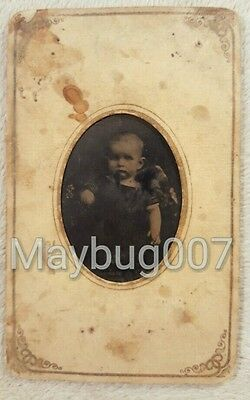 Vintage Antique Tintype Photograph Baby Infant Child