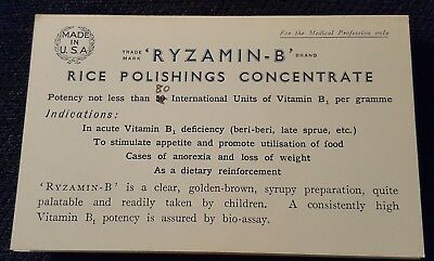 Antique Vintage Medical Pharmaceutical Advertisement Ryzamin-B medicine