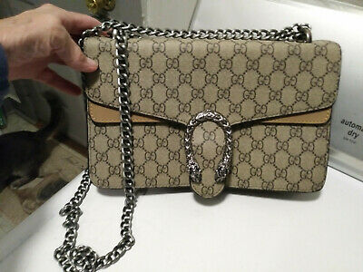 5dc2a23208e9 GUCCI DIONYSUS GG Supreme Beige -Brown Chain Shoulder Handbag ...