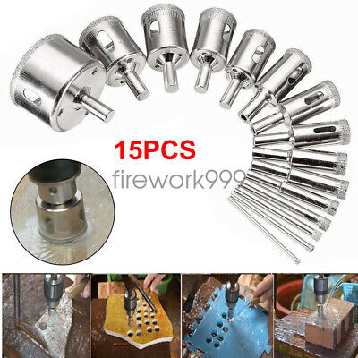 15X 6-50mm Hole Saw Drill Bit Glass Ceramic Tile Marble Cutting Tool