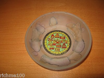 Vintage Israel Judaica Hand Painted Hebron Stained Glass Art Jerusalem Coin Dish