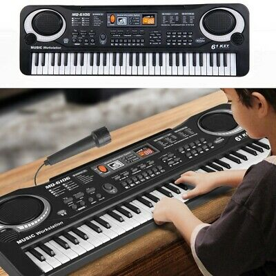 61 Key Digital Music Electronic Keyboard Piano Set Organ w/ Microphone For Kids