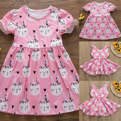 7183f8270244 Toddler Kids Baby Girl Summer Dress Easter Bunny Princess Dress Clothes  Outfits