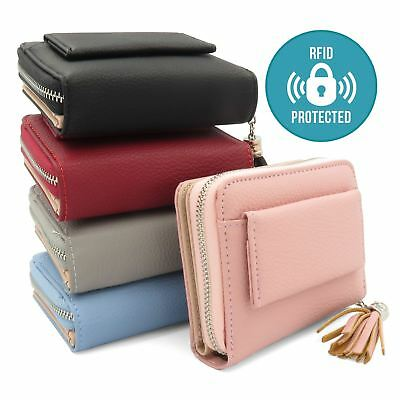 Ladies Soft Leather Zip Coin Purse Credit Card ID Holder With RFID Blocking CB