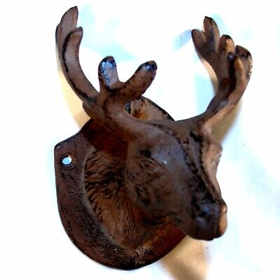Cast Iron Deer Head Hook Rustic Cabin decor Hunter Key Hook