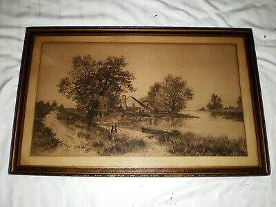 Antique Etching Signed Charles Volkmar (1841-1914) Boy Fishing Boat Land River