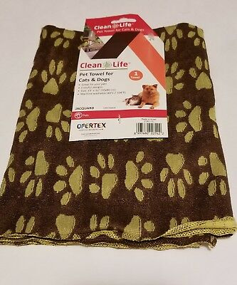 """Clean Life Pet towels for drying Cats & Dogs 19"""" x 32"""" BRAND NEW with Tags"""
