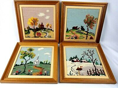 Cross Stitch Vintage Set of 4 Seasons Framed House Church Barn On The Hill Cabin