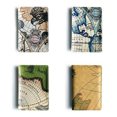 World Map Printing Travel Passport ID Card Cover Holder Case Protector Organizer
