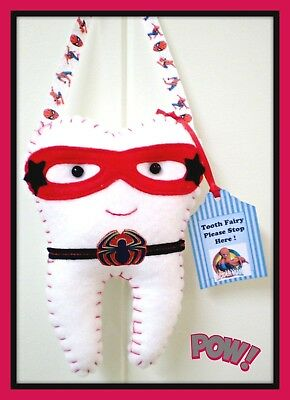 Tooth Fairy Pillow Spiderman  inspired- Handmade- Pocket on back