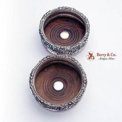 Pair Of Antique Ornate Magnificent Wine Coasters Old Sheffield Plate Wood 1820