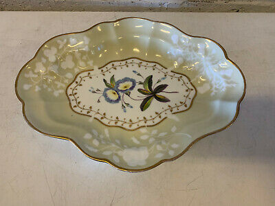 Antique Chamberlains Worcester English Porcelain Serving Dish Blue Yellow Floral