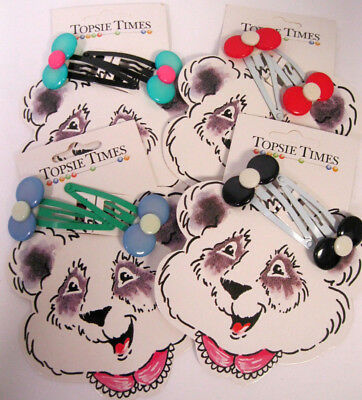 Vtg New On Card 1980's You Choose Colorful Lucite & Metal Girls Hair Clips Retro