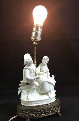 Antique White Porcelain Lamp Courting Couple Ornate Filigree Brass Base & Feet
