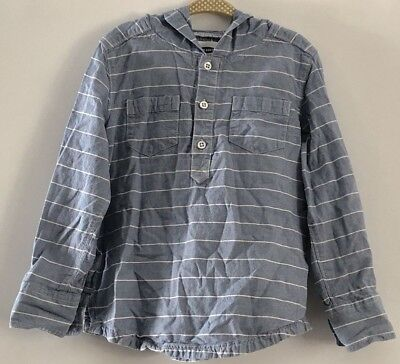 Old Navy Toddler boys Striped Chambray Hoodie Size 5T 100% Cotton