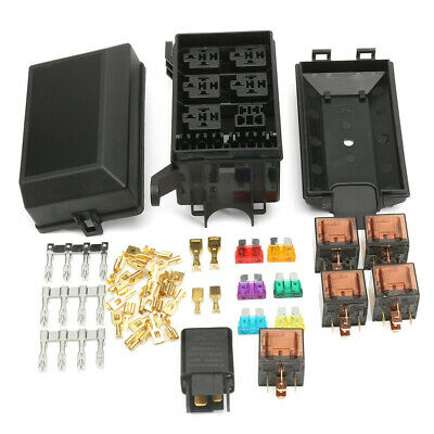 universal 12v 80a 6 way fuse box block relay holder kit for car trunk  insurance