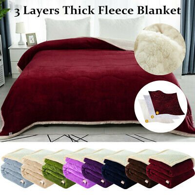 Reversible 3 Layers Textured Soft Warm Thick Fleece Blanket Twin/Full/Queen Size