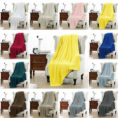 100 Cotton Cable Knit Knitted Throw Blanket Large Sofa Bed Couch Home Décor