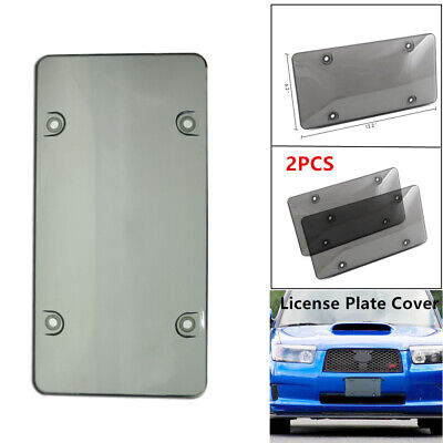 2x Car Protection Trims Smoked  License Plate Cover Tag Frame Shield Tinted Flat
