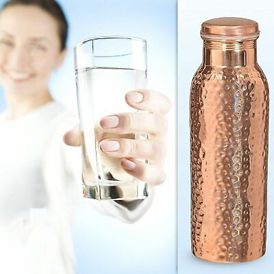 SET of 3 Pc Indian 100% Pure Copper Hammered Water Bottle 1000 ML Jointless Yoga