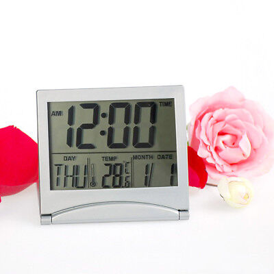Compact Digital LCD Weather Station Folding Desk Temperature Travel Alarm Clock