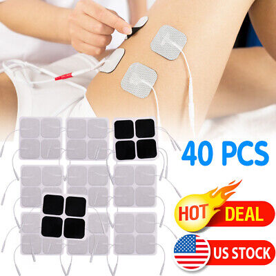 40pcs 2x2 inch Replacement Electrode Pads for Tens Unit Massager White Cloth