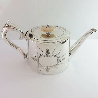 Antique Brookes & Crookes Silverplate Etched 6 Cup Teapot, England