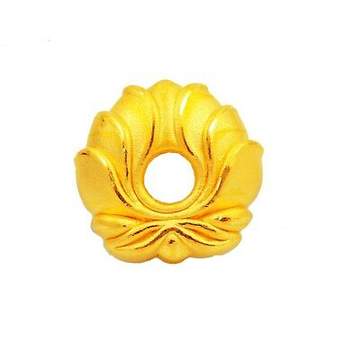1pcs New Pure 999 24K Yellow Gold Women Lotus Flower Loose Bead Pendant 1.3-1.6g