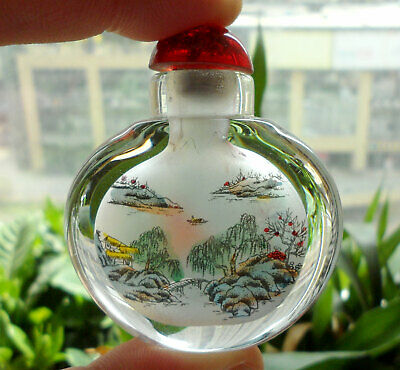 Chinese Handmade Inside painted ancient beauty glass Snuff Bottle