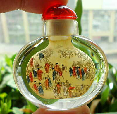 Chinese Collectible Handmade Inside painted Ancient Figures Glass Snuff Bottle