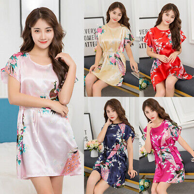 Womens Fuax Silk Sleepwear Robes Pajama Sleep Night Dress Nightgown Nightwear BL