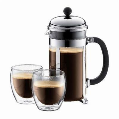 Bodum Chambord Set Coffee Press Plunger One Litre Incl 2 Double Walled Glasses