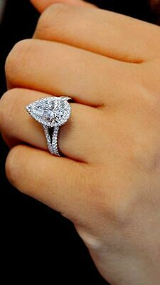 2.50ct Pear & Round Diamond Halo Engagement Wedding Ring Solid 10k White Gold